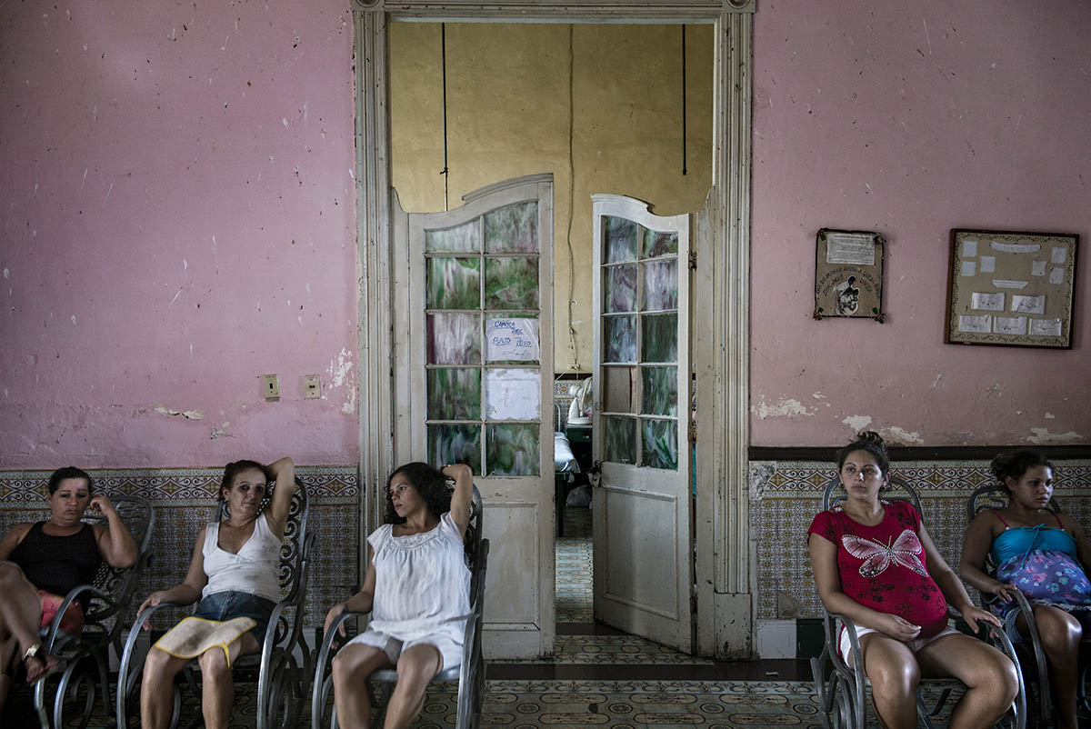 CUBA - MAY 2013: A group of pregnant women inside Maternity Trinidad. Talks between the government of the United States and the Government of Cuba to restore relations between the two countries could mark a before and after in the future of the island.
