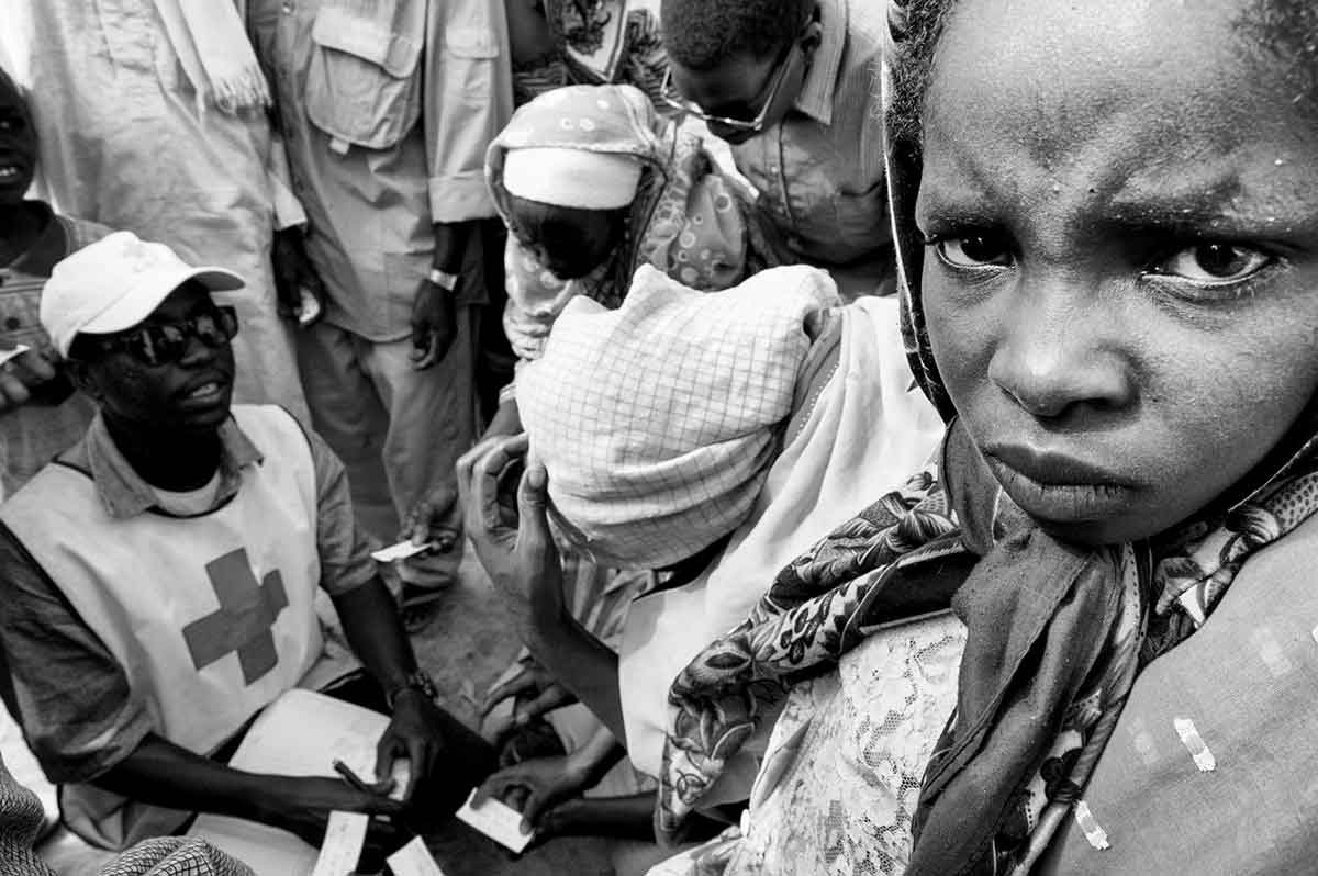 DARFUR, SUDAN - APRIL 2005: Refuges fleeing from the genocide in Darfur.