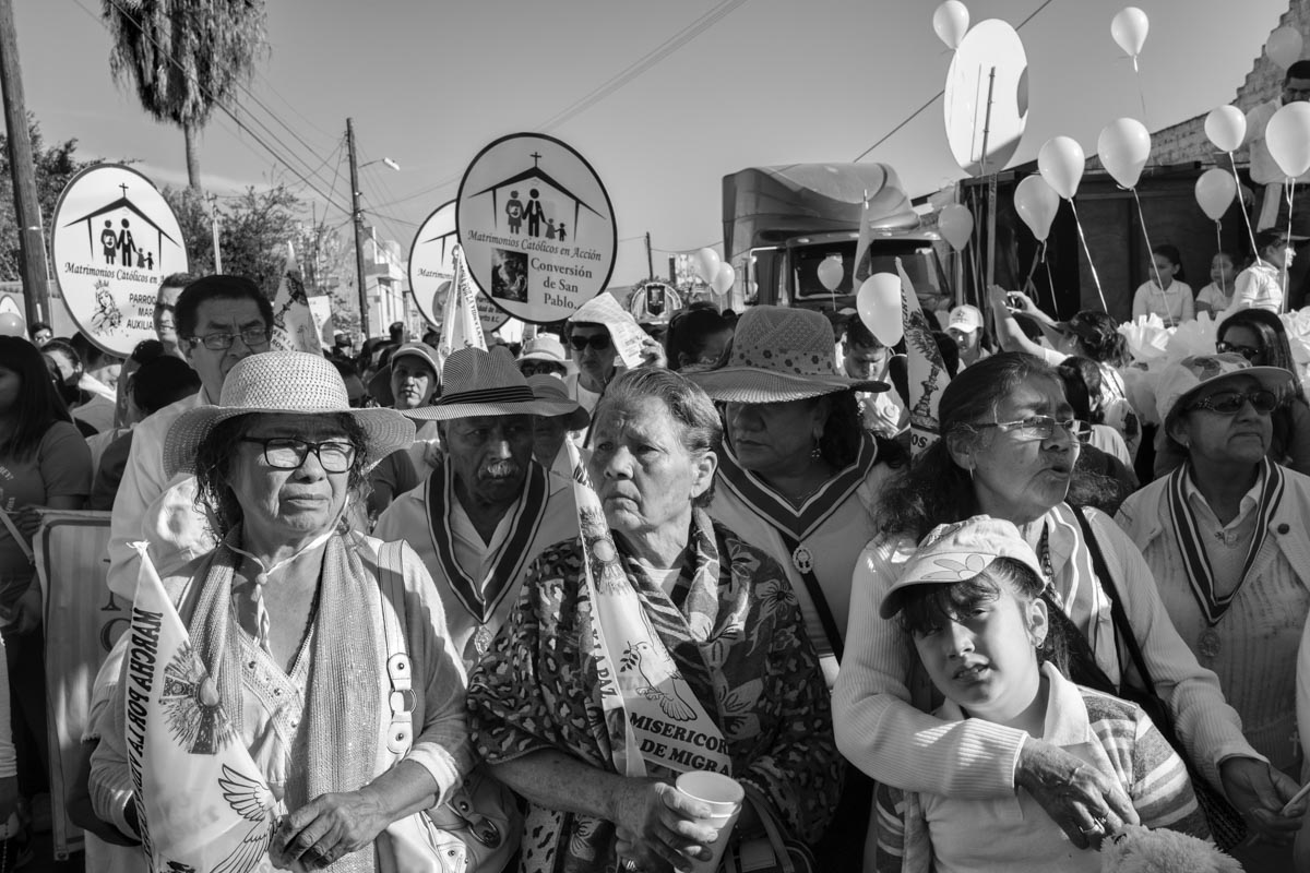 TIJUANA, BAJA CALIFORNIA, MEXICO - MARCH, 2017: Protesters during the march organized by the catholic church in TIjuana for peace, justice and migration.