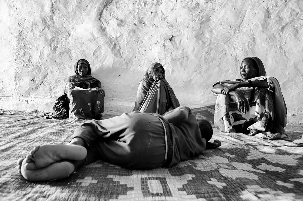 CHAD - SEPTEMBER 2008: The waiting room for the Medecins Sands Frontieres (MSF) health station at the Iribime refugee camp.