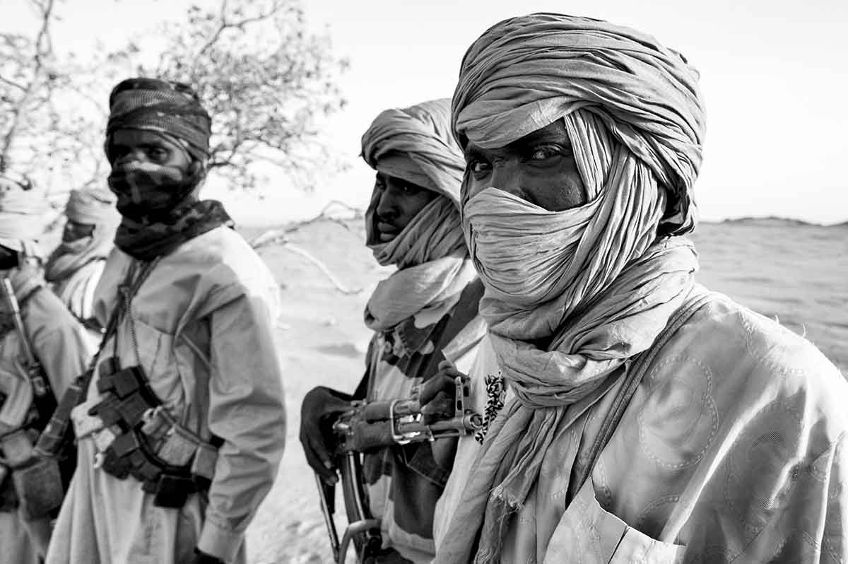 DARFUR, SUDAN - APRIL 2005: Members of the SLA (Sudanese Liberation Army) guerrillas, one of the rebel groups fighting against the Sudanese goverment in Khartoum.