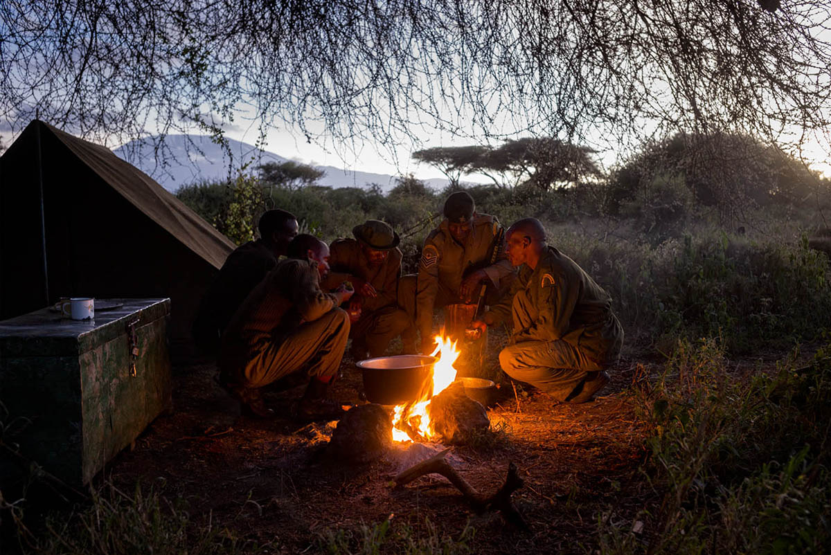 KENIA, AMBOSELI - FEBRUARY 2016: A unit of rangers inside their camp in the national park Amboselli.