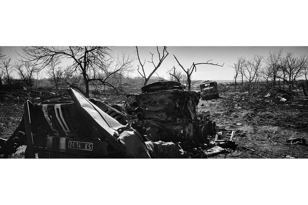 DONESTK, UKRAINE - FEBRUARY 2015: The destroyed remains of the Ukrainian army lie scattered across the front of combat from the strategic town of Debaltsebe. The Ukrainian troops suffered their heaviest defeat in this strategic place after signing the agreement the fire of Minsk. The numbers of dead in the Ukrainian side are a mystery.