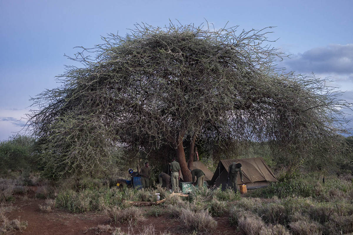 KENIA, AMBOSELI - FEBRUARY 2016: A unit of rangers inside their camp in the national park Amboselli.